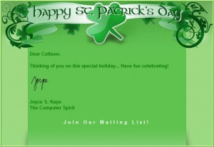e-Newsletter St Patty greetings